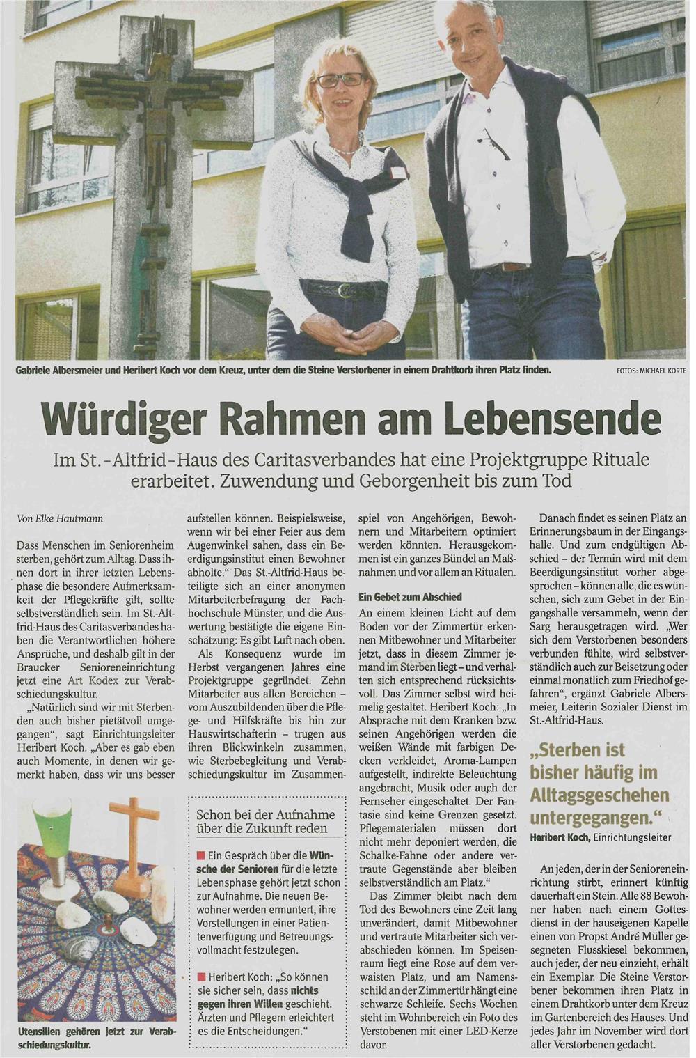Würdiger Rahmen am Lebensende - Caritas in Gladbeck - Wir helfen leben.